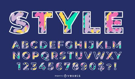 Conjunto de alfabeto de cores pastel