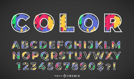 Farbige Alphabet gesetzt