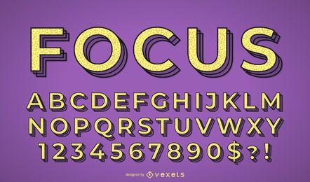 Focus alphabet vector set
