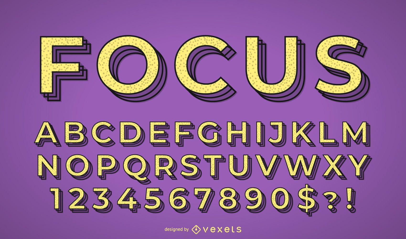 Focus alphabet vector set