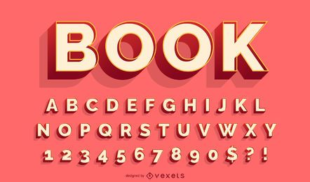 3D red alphabet vector set