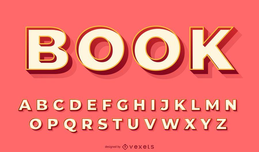 3D red alphabet vector set