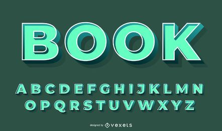 Conjunto de vetores 3D alfabeto verde