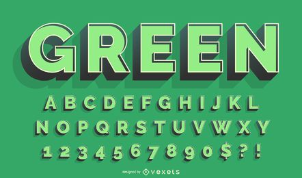 3D green alphabet vector set