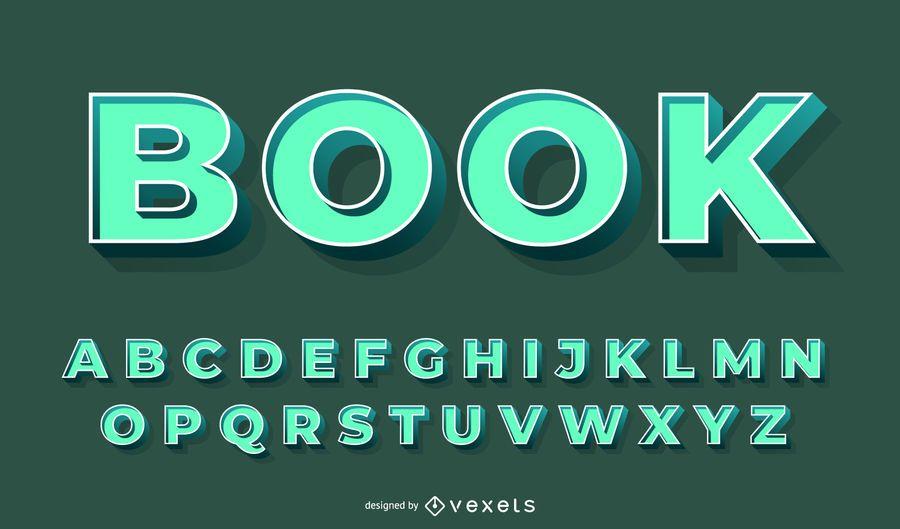 3D green alphabet vector set