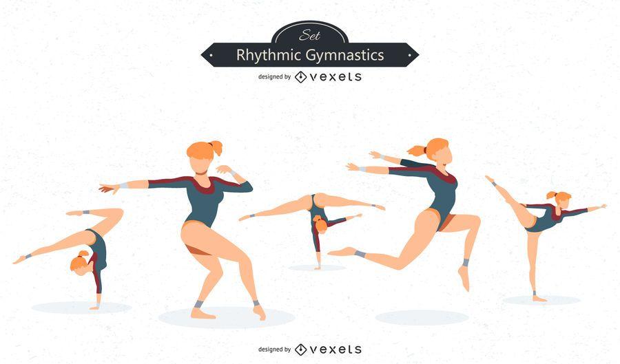 Conjunto de vetores de ginástica rítmica