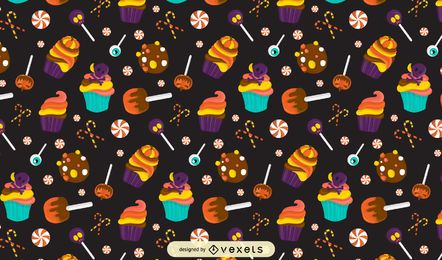 Halloween candies pattern design