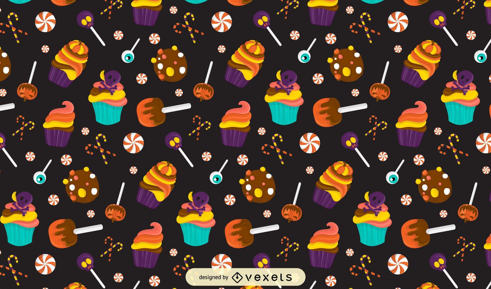 Halloween candies pattern design