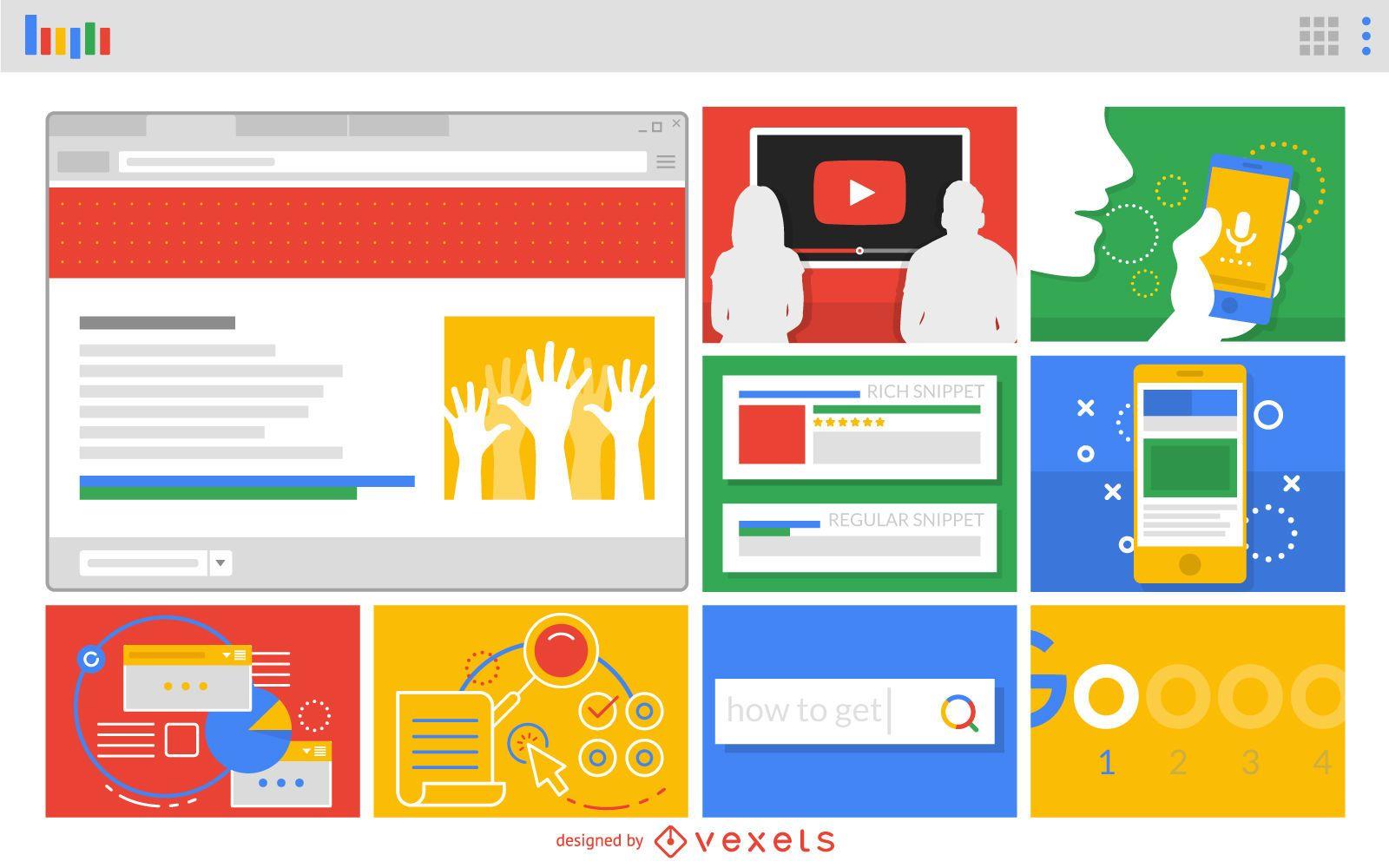 Diseño vectorial de diseño de aplicaciones web