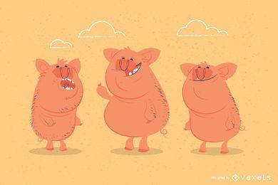 Ilustração engraçada de porcos