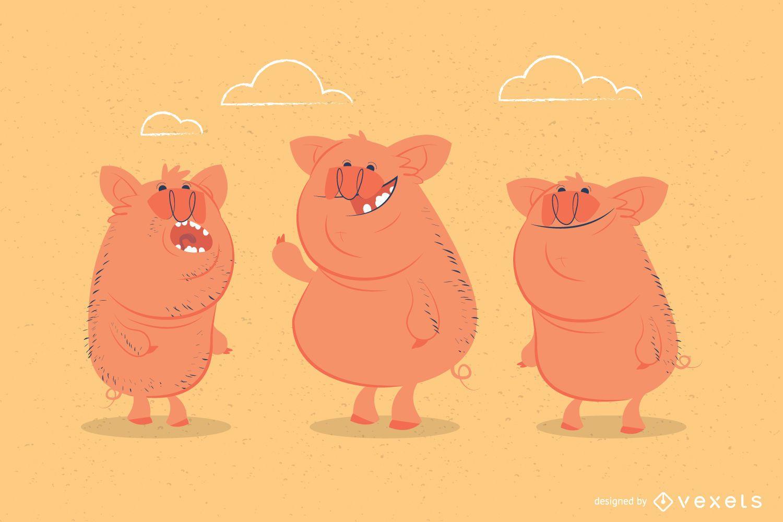 Funny pigs illustration