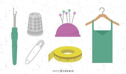 Conjunto de vetores de elementos de costureira