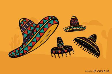 Conjunto de sombrero mexicano