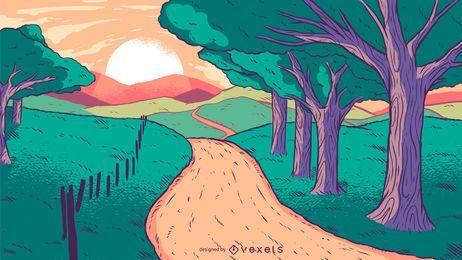 Ilustración de vector de puesta de sol de carretera de país