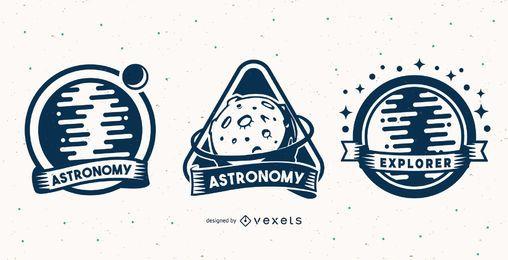 Conjunto de emblemas de astronomia