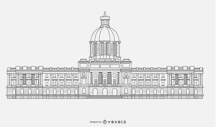 Government Building Silhouette Vector