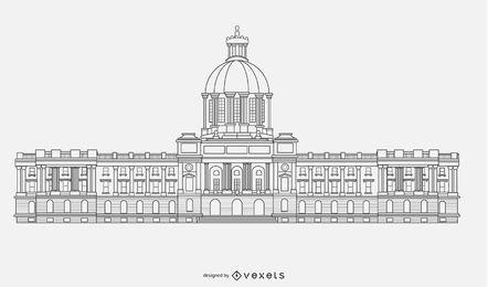 Vector de silueta de edificio de gobierno