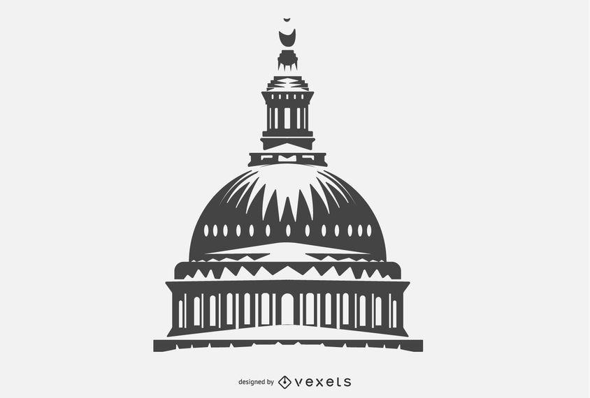 Design de silhueta de cúpula de construção