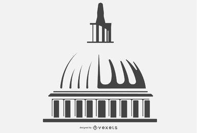Design de silhueta do Capitólio edifício cúpula