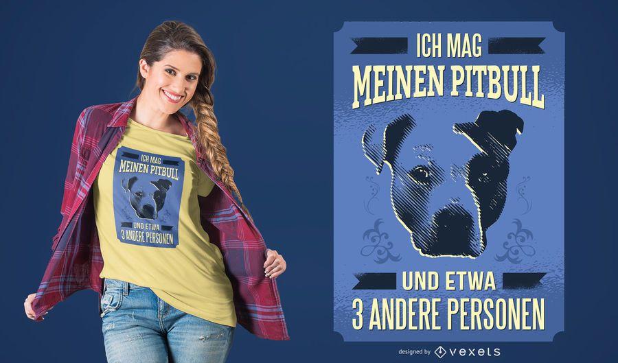 Alemão eu amo MEU design do t-shirt de Pitbull