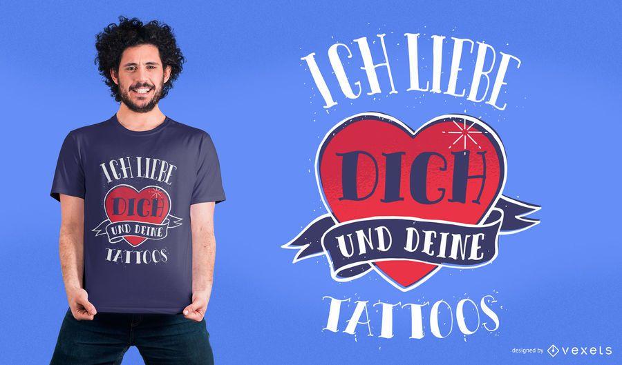 Te amo tatuajes camiseta de diseño