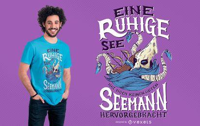 Diseño de la camiseta del mar de Kraken