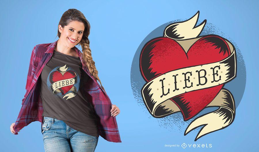 Diseño alemán de la camiseta del tatuaje del amor