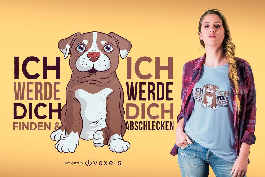 Design do t-shirt do cão de Pitbull do alemão