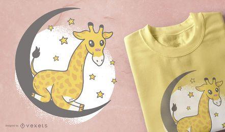 Diseño de camiseta linda jirafa