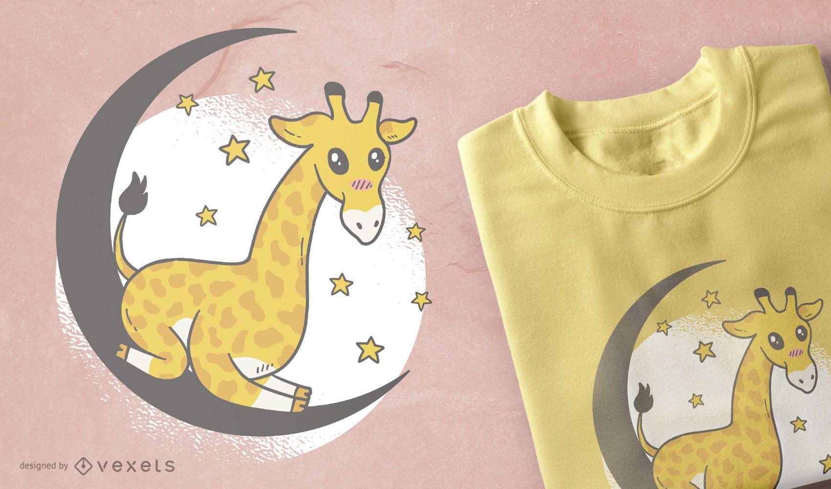 Design de camiseta girafa fofo