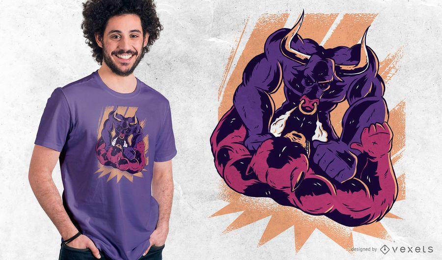 Projeto do t-shirt da luta de Bull e de urso