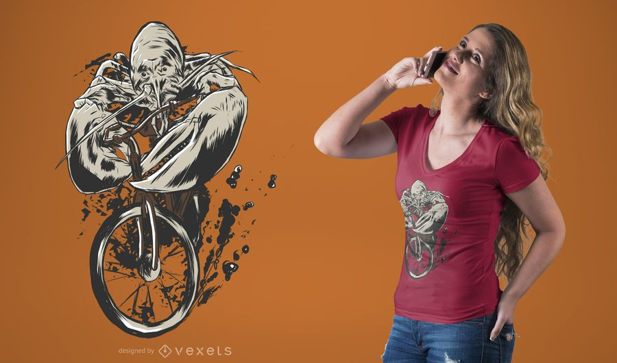 Lobster Riding Bicycle T-Shirt Design