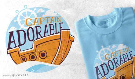 Projeto adorável do t-shirt de Captian