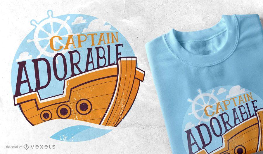 Diseño adorable de la camiseta de Captian