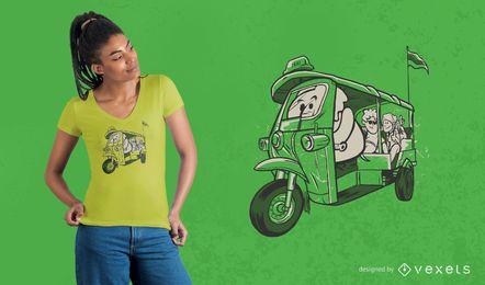 Diseño de camiseta de taxi elefante