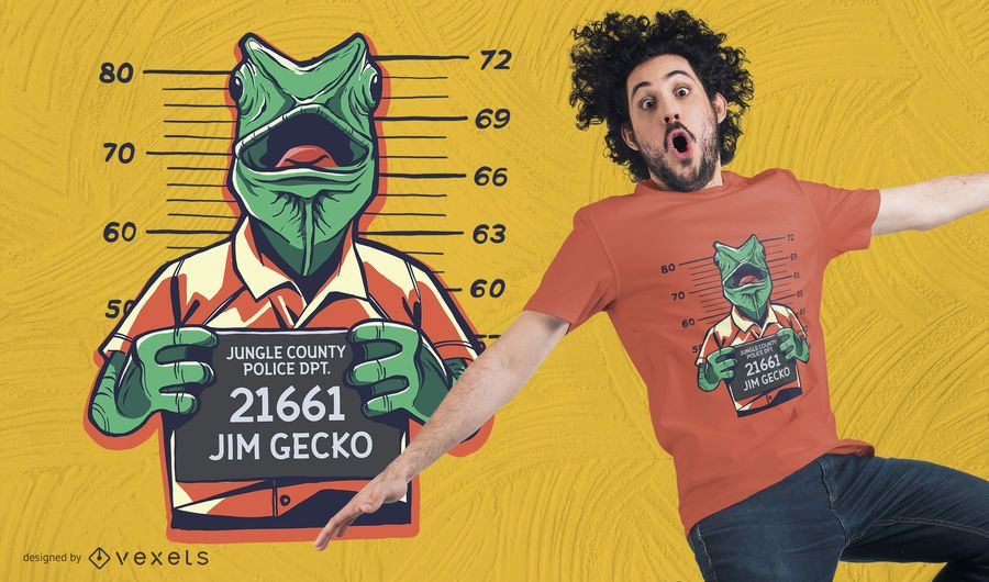 Convict Lizard T-Shirt Design