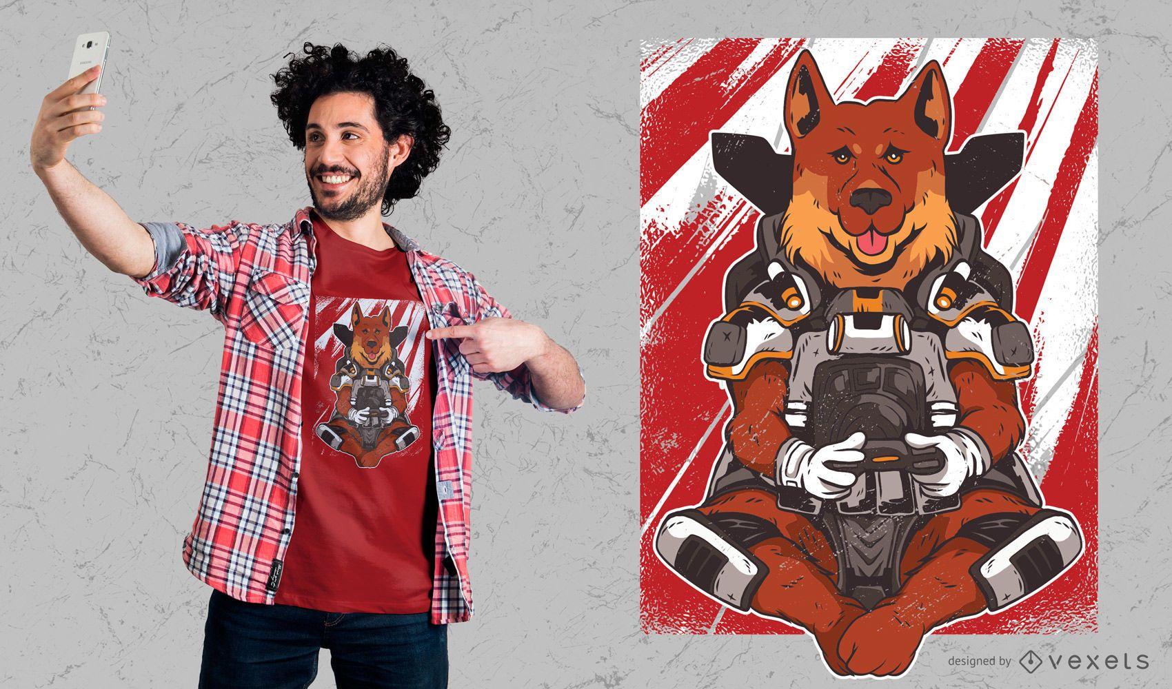 Dise?o de camiseta Dog Video Gaming