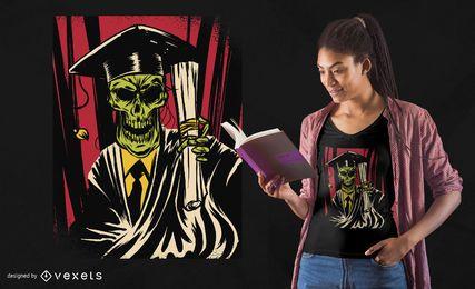 Design de t-shirt de caveira de pós-graduação