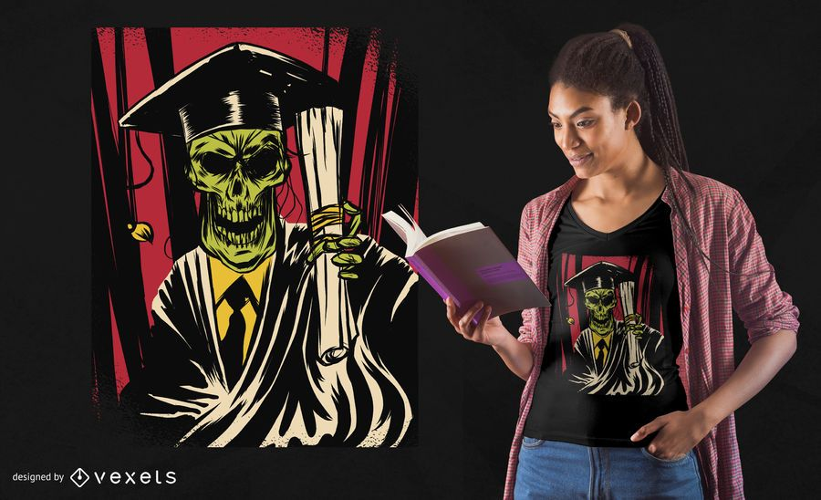 Diseño de camiseta de cráneo graduado