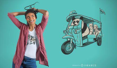 Projeto do t-shirt do táxi da panda