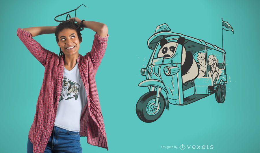 Diseño de camiseta Panda Taxi