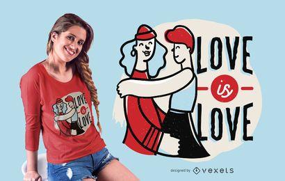 Diseño de camiseta de amor es amor