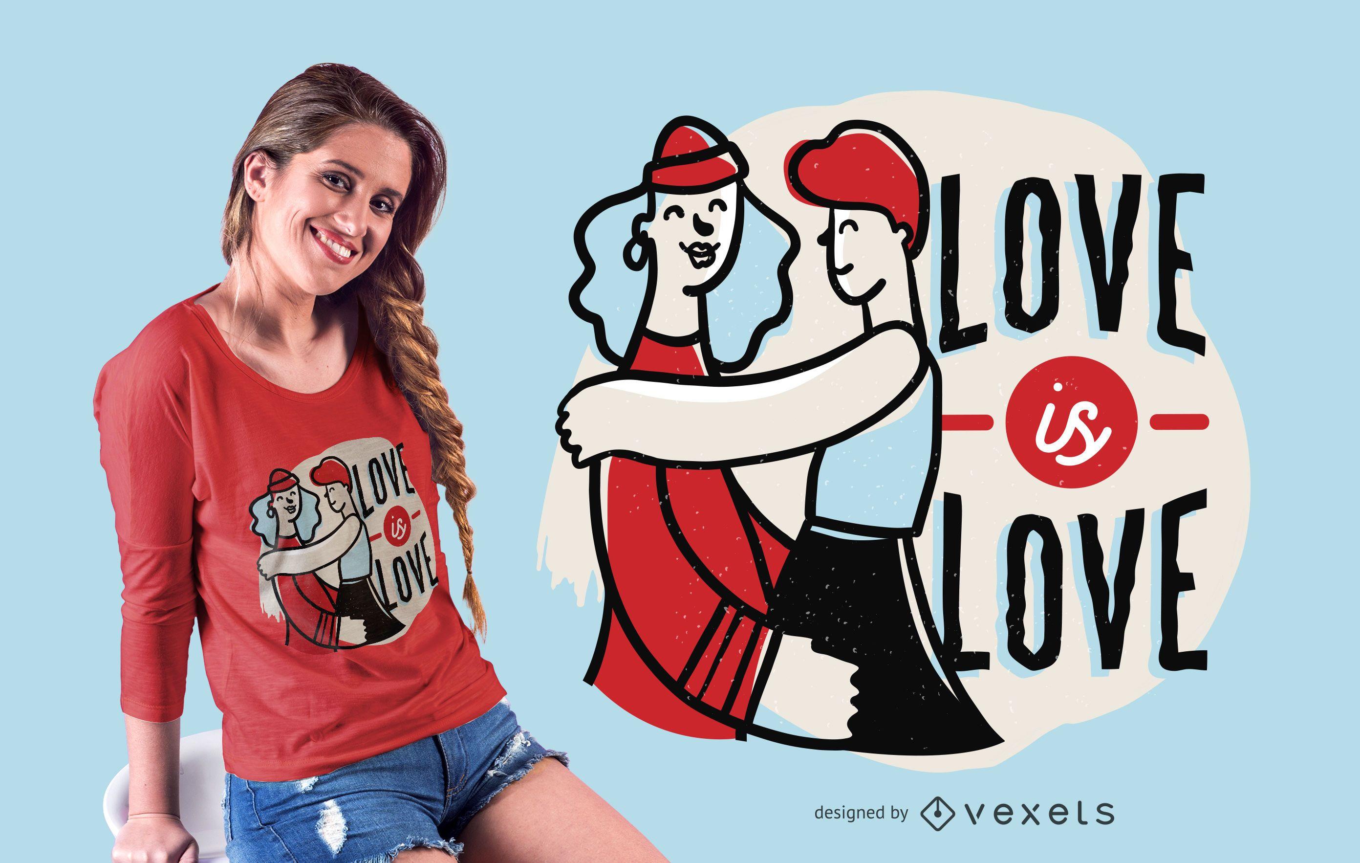 Amor é o design de camisetas de amor