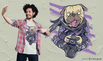 Design de camiseta para jogos de vídeo Pug