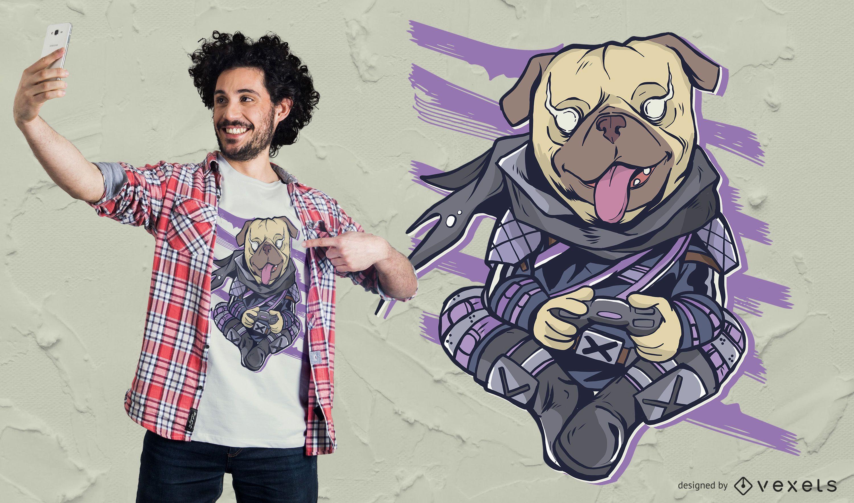 Pug Video Gaming T-Shirt Design