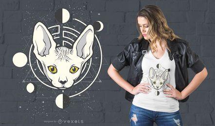Projeto do t-shirt do gato do espaço