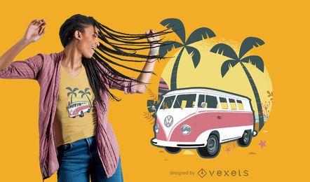 Design de camisetas de van de viagem