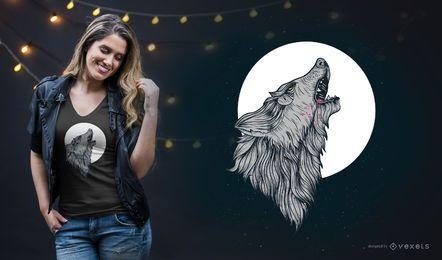 Diseño de camiseta aullido de lobo
