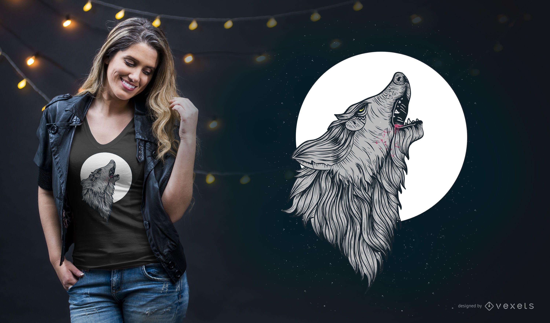 Diseño de camiseta Wolf Howling