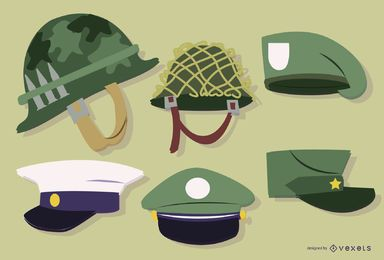 Conjunto de chapéu de soldado militar